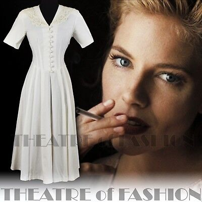 DRESS LACE 40s 30s 50s WEDDING GATSBY VINTAGE LAURA ASHLEY VICTORIAN DIVA VAMP