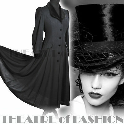 COAT DRESS VICTORIAN 40s VINTAGE LAURA ASHLEY RIDING MISTRESS EDWARDIAN NOIR