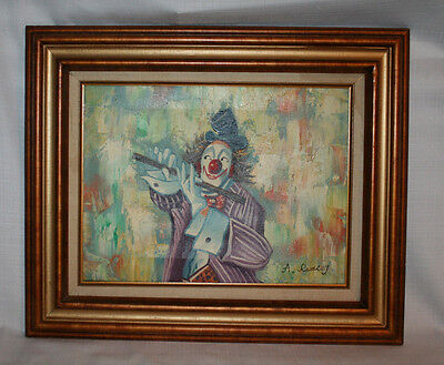 Clown Playing A Flute Oil Painting On Canvas Signed A. Ramsay In The Frame
