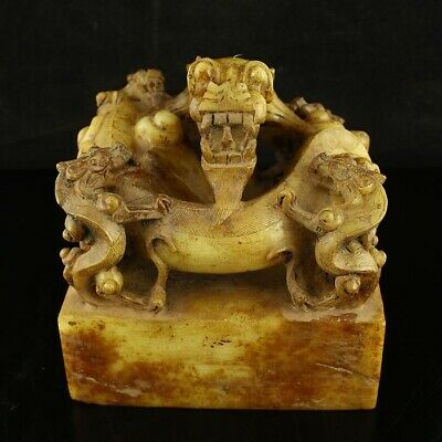 """5"""" China old antique Natural handcarved hetian jade dragon seal statue"""