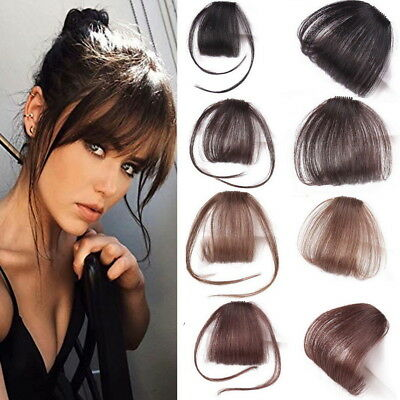 Natural Thin Neat Air Fringe Remy Human Hair Extensions Clip Front Hairpiece aa*