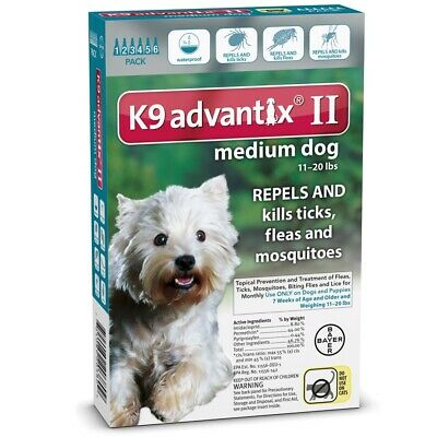 K9 Advantix II for Medium Dogs 11-20  lbs, 6 Month, New In Box AUTHENTIC