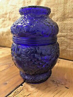 Unique Antique Grapes and Cherry Embossed Cobalt Blue Glass Lidded Jar