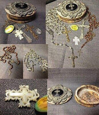 LOT: 2 Antique Sterling Rosaries, solid Mother of Pearl Cross,MARBLE Box, & more