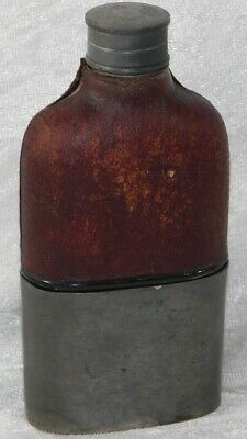 Atq 1900'S English Yates Crown Leather Pewter Glass Pocket Flask Bottle