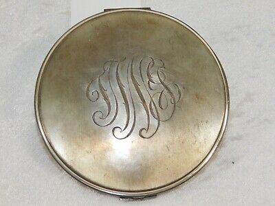 VTG VOLUPTE LARGE Sterling Silver Powder Cosmetic Mirror Compact