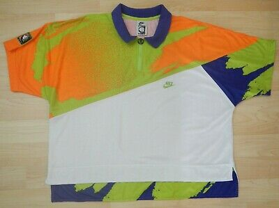 new style ae488 92ac4 Vintage Nike Challenge Court Agassi Neon Polo Shirt Air Tech Tennis 90s  Mens XL