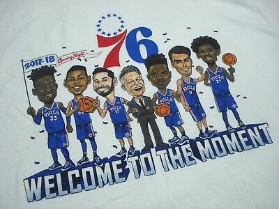 163db07bd736f4 Philadelphia 76Ers 2017-18 Opening Night Welcome To The Moment Sga Shirt  Size Xl