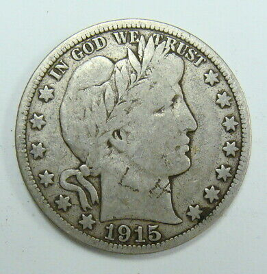 1915 S Fine Detail  Barber Half Dollar, Full Rims Collector Coin, Free Shipping