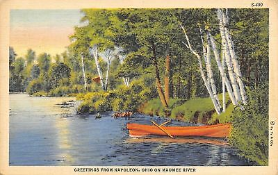 Napoleon OH Greetings From the Maumee River~Rowboat & Birch Trees~Ingerson 1935