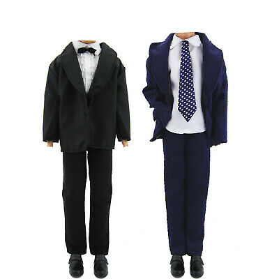 2 Suits Blue & Black Handmade Bowtie Clothes For 11.5inch 12 inch 1/6 Ken Doll