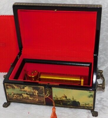Vtg Reuge Swiss 4 Song Cylinder 50 Notes Victorian Panel Wood Music Jewelry Box