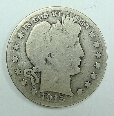 1915 D G/ag  Barber Half Dollar, Collector Coin, Free Shipping