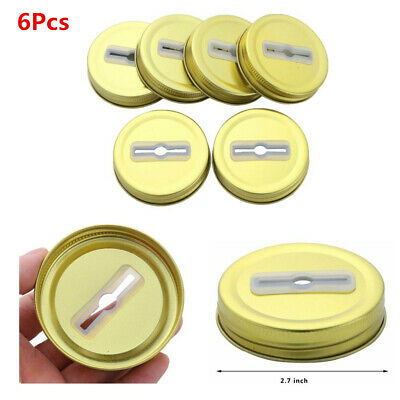 6 Pcs 70cm Gold Metal Lid Bottle Cover with Straw Hole Coin Slot For Mason Jars
