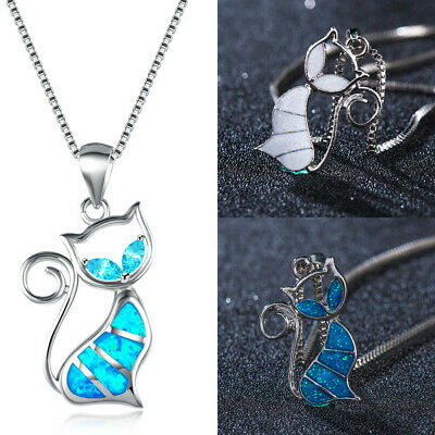 Fine Fashion 925 Silver Jewelry Cat White Fire Opal Charm Pendant Necklace Chain
