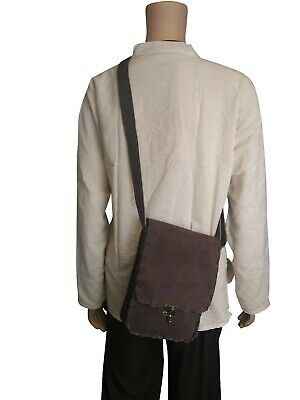LARP Black and Brown Leather Suede Shoulder Bag, Medieval, Reenactment