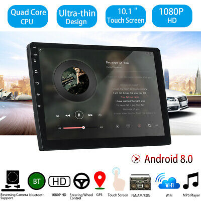"2DIN Car Stereo 10.1"" Android 8 Touch Ultrathin GPS Navi Radio WIFI MP5 Player"