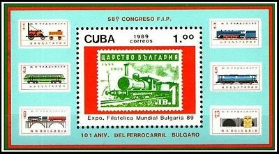1989 MNH SS, Trains, Railways, Stamp on Stamp (J3n)