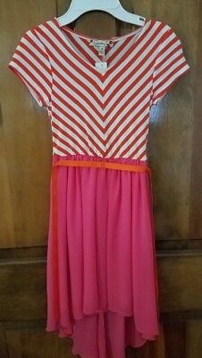 695926fc14d New Girls Speechless Dres Orange White Stripe Top Longer Back Pink Sz 8