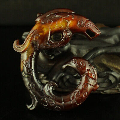 """2"""" China old antique handcarved hollow out hetian jade dragon Phoenix Pendant"""