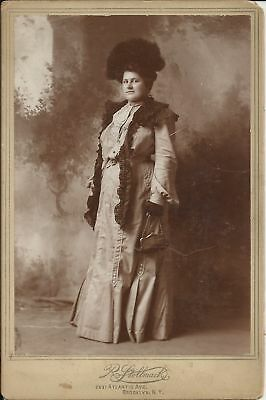 Old Antique Cabinet Card Photo Of Fashionable Woman By R. Stollmack Brooklyn Ny
