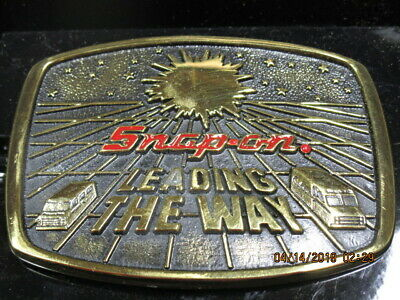 Vintage Snap-On LEADING THE WAY Belt Buckle Solid Brass Limited Edition 1988 NEW