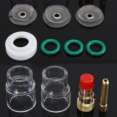 """Tig Welding Torch 3/32"""" Gas Lens #12 Pyrex Cup Collet Kit For Wp-17/wp-18/wp-26"""