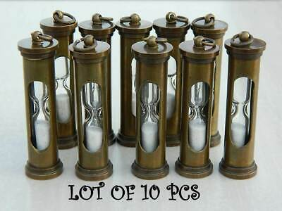Lot of 10 Pcs Antique Brass Handmade Marine Maritime Sand Timer Key Chain Gift