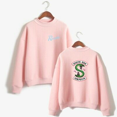 SIZE:M PINK Sweater Riverdale Southside Serpents High Collar Pullover Sweatshirt