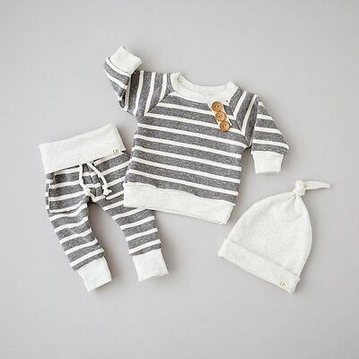 3pcs Newborn Baby Top T shirt+Pants+Hat Outfit Boy Girl Clothing 3 6 9 12 18M