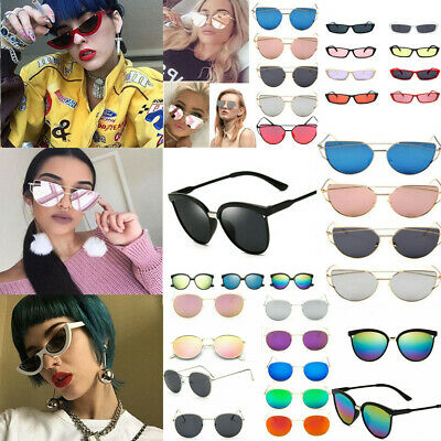 Vintage Retro Women Cat Eye Large Mirrored Sunglasses Sexy Eyewear UV400