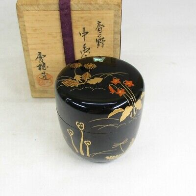 F255: Classy Japanese lacquered powdered tea container with spring flower MAKIE