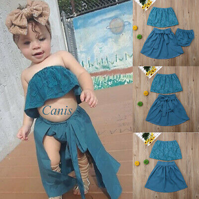 Kids Baby Girls Lace Floral Tube Top+Bandage Dress+PP Pants 3Pcs Outfits Clothes