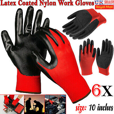 6 Pairs Latex Coated Safety Gardenening Work Gloves Builders Mechanic Grip UK