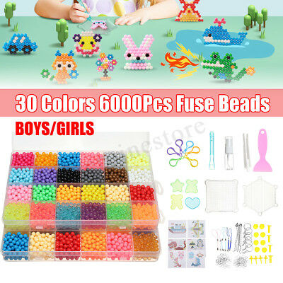 30 Colors 6000Pcs DIY Aqua Refill Water Sticky Fuse Bead Supplement Toy Kid