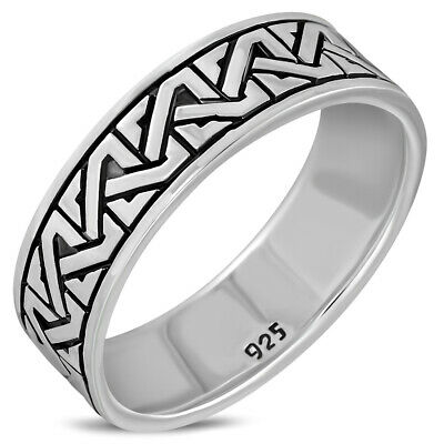 Celtic Knot Mens Band Silver Ring, MIX US SIZE, Plain Solid Sterling Silver,