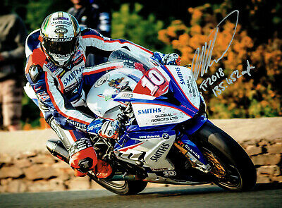 Peter Hickman 2018 Isle of Man Senior TT Winner signed 10 x 8 picture.