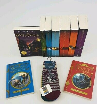 NEW The Complete Harry Potter 9 Books Collection Gift Set J. K. Rowling Socks