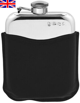 fl27 6oz Black Leather Covered Steel Hip Flask Captive Lid and Free Engraving
