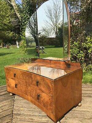 Antique Vintage 1920s 30s burr walnut dressing table in lovely vintage condition
