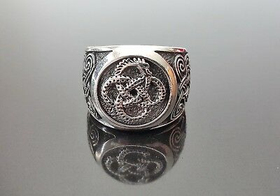 925 Sterling Silver Ring Ouroboros Viking Celtic Unique Norse Urnes Ornament