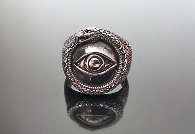 STERLING SILVER Ring Ancient Symbol All Seeing Eye Snake Eating Tale Ouroboros
