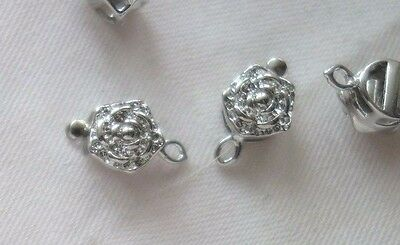 5 Silver Coloured 1-1 Floral Box Clasps 10mm x 18mm x 6mm #3599
