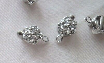 5 Silver Coloured 1-1 Floral Box Clasps 10mmx18mmx6mm #3599 Jewellery Findings