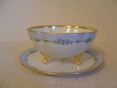 Vintage Noritake Nippon Footed Bowl With Under Plate Blue Forget Me Nots Trim