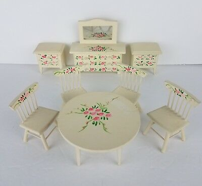 Vintage Wood Hand Painted Dining Room Dollhouse Furniture 8 pieces Germany VTG