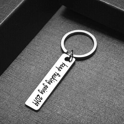 Keyring Inspirational Message Pendant Quote Keyfob Stainless Steel Key Chain 6A
