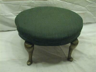 Antique Brass Leg Upholstered Bench Stool Foot Rest Colonial Wrought Iron