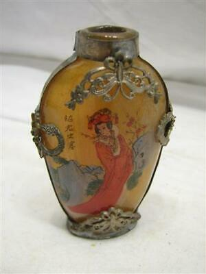Early Reverse Painted Glass Asian Snuff Bottle w/Overlay Japanese Chinese Horse