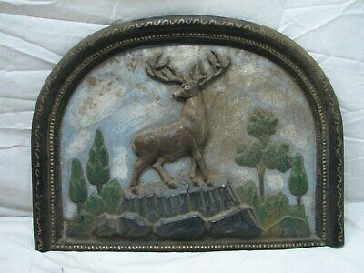 Antique Cast Iron Fireplace Summer Cover Insert Deer Stag Cabin Elk Fire Place